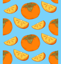 Persimmon color sketch seamless contour pattern vector