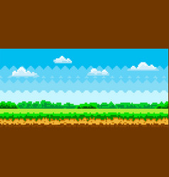 Pixel scene with green grass and forest vector