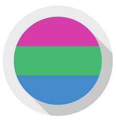 Polysexual pride flag round shape icon on white vector