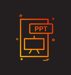 Ppt file format icon design vector