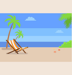 recliner under tall palms at empty sandy beach vector image