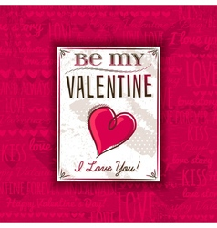 Red background with valentine heart and greeting vector