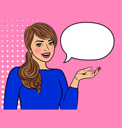 retro girl with empty speech bubble vector image