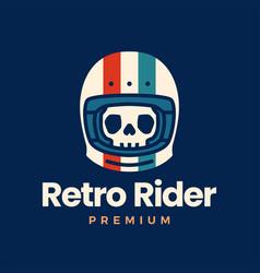 retro skull helmet rider motorcycle club logo icon vector image