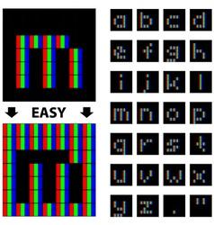 RGB pixel lower case font alphabet vector