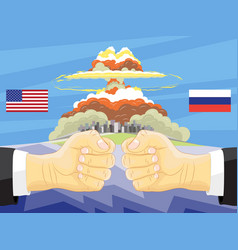 russia vs america atomic bomb on background vector image