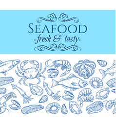 Seamless border with seafood vector