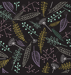 seamless pattern with linear leaves and branches vector image