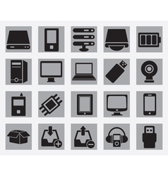 Set computer hardware icons vector
