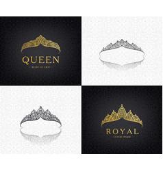 set lace luxury crown logos queen vector image