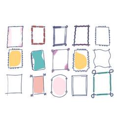 set of doodle frames on white background vector image