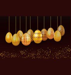 set of hanging easter eggs on dark background vector image