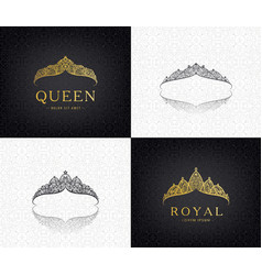set of lace luxury crown logos queen vector image