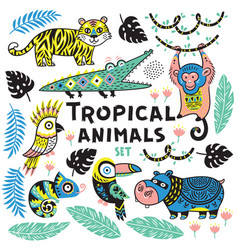 set of tropical animals vector image