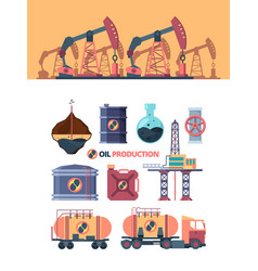 set oil products drilling well swinging with rod vector image