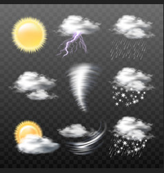 set realistic weather icons isolated on vector image