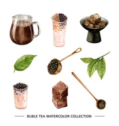 Set watercolor and hand drawn bubble tea on vector