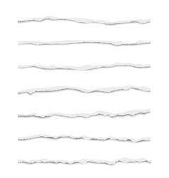 Seven oblong torn bright white paper fragments vector