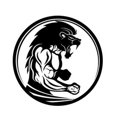 Sign of muscular athlete fighter vector