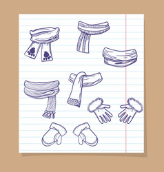 sketch winter mittens and scarves vector image