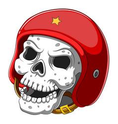 Skull in red helmet on white background vector