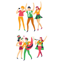 Sport fans with flags hats and pipe or megaphone vector