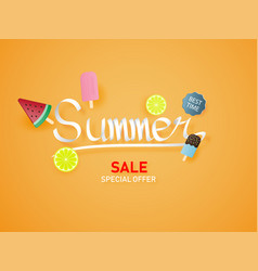 summer lettering on orange background with ice vector image
