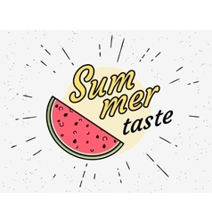 Summer tasty watermelon vintage symbol in hipster vector