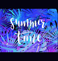 summer tropical leaf background with exotic palm vector image
