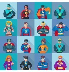 Superhero Square Icons Set vector image
