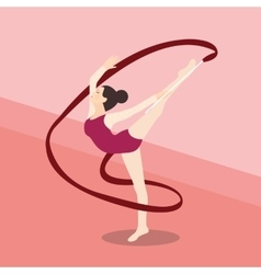 synchronized ribbon rhytmic dance athletic young vector image