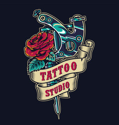 Tattoo salon vintage colorful badge vector