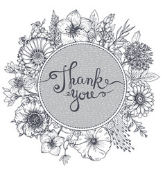 Thank you card with hand drawn flowers leaves and vector