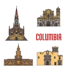 Tourist architecture landmarks of Colombia vector