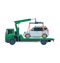 Tow truck evacuating white car road assistance vector