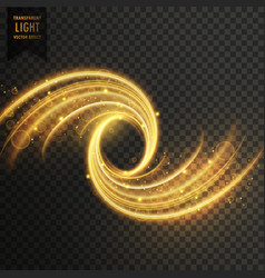 Transparent light shimmer effect in golden color vector