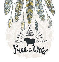 tribal Card with feathers and lettering Hand drawn vector image