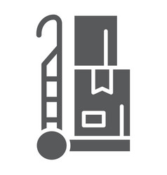 trolley glyph icon cargo and package hand truck vector image