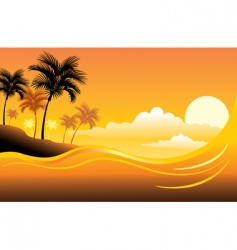 tropical sunset seascape vector image vector image