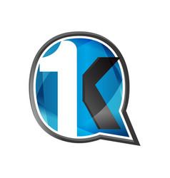 Typography letter 1k circle design symbol vector