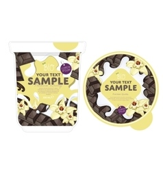 Vanilla chocolate Yogurt Packaging Design Template vector image
