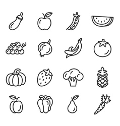 Vegetables and Fruits Icons vector image