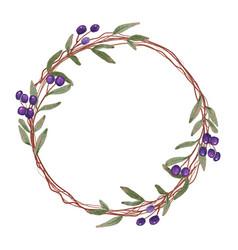 Watercolor blue berry fruit wreath frame vector