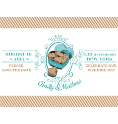 Wedding Vintage Invitation - Macaroon Heart Theme vector image