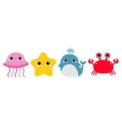 Whale jellyfish crab starfish toy icon set line vector