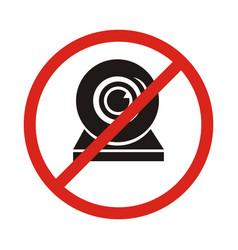 a not allowed icon with a webcam no webcam icon vector image vector image