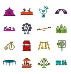 amusement park icons doodle set vector image vector image