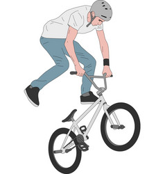 bmx stunt bicyclist - vector image vector image