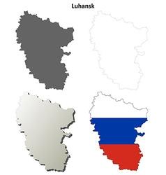 Donetsk blank outline map set - Russian version vector image