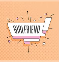 girlfriend retro design element in pop art style vector image